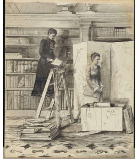 """Two women in a bookshop or library. The one on the left is standing on a ladder, a book open on the highest step. The other woman is standing in front of a screen, next to an open crate of books that reads """"books with care"""". The two women are made from cut out photographs."""